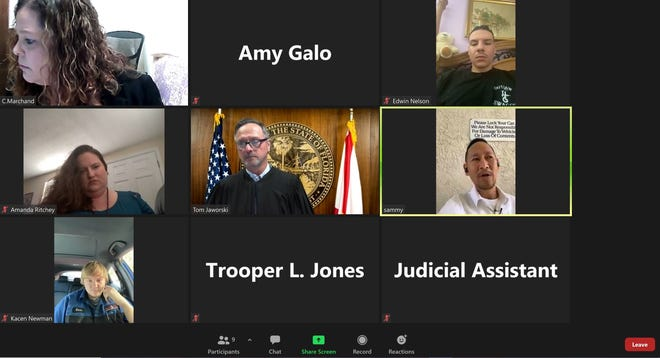 A Zoom traffic court hearing March 10 presided over by Alachua County Tom Jaworski.