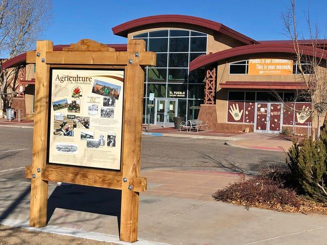 One of Pueblo's new wayfinder kiosks in front of El Pueblo Museum focuses on agriculture and the Pueblo Chile.