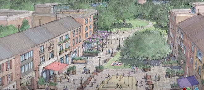 This is an artist's image of Phase I of the redevelopment of the northeast corner of East Broad Street and North Hamilton Road. Mayor Kim Maggard, in a virtual state-of-the-city address March 18, said that N.R. Investments would create include office, retail and 276 mixed-income residential units in the first of three phases.
