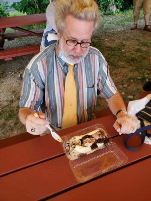 Paquin at Rota Spring Farm in 2020 enjoying a banana split.