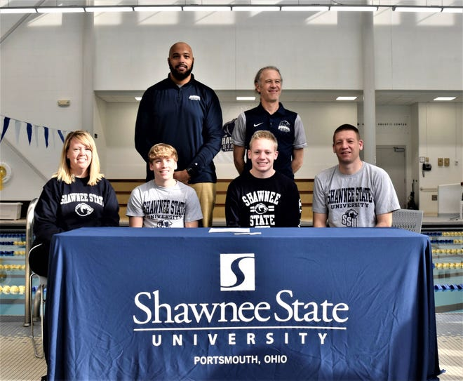 Chillicothe High School senior, Evan Siberell, signed a letter of intent to attend Shawnee State University where he will continue his education and athletic career as a member of the Bears' swim team and track team.  He was joined for the occasion by his parents, Jeremy and Holly Siberell, his brother Mason Siberell, swim coach, Gerald Cadogan, and track coach, Eric Putnam.