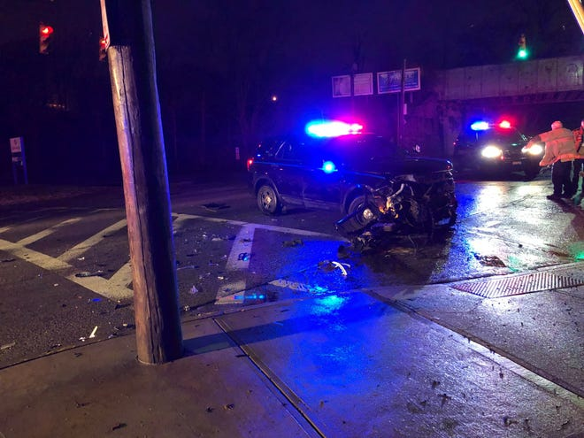 St. Bernard police said a cruiser was considered totaled after a car reported stolen crashed into the police vehicle Thursday at Vine Street and Railroad Avenue.