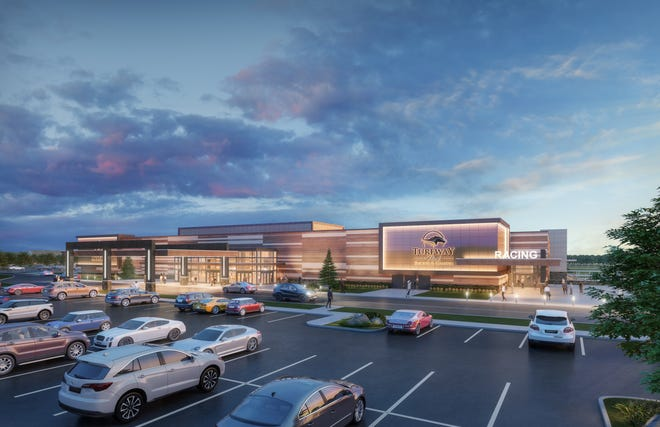 An artist's rendering of the planned remodeled Turfway Park Racing & Gaming in Florence, Kentucky.