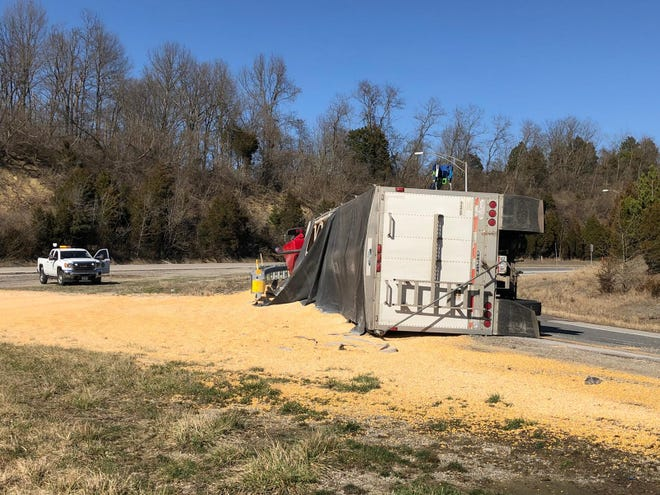 A corn truck spill Friday afternoon on the I-275 West ramp to Kellogg Avenue means clean-up crews will take at least two hours to before the ramp can be popped back open to traffic.
