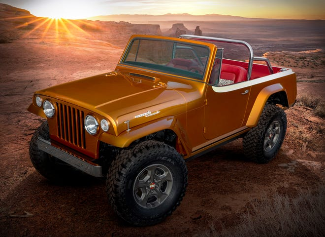 """This year's Jeep®""""Resto-Mod"""" is a throwback to the second-generationJeepster.The Jeepster Beach concept started as a 1968 Jeepster Commando (C-101) and was seamlessly blended with a 2020 Jeep Wrangler Rubicon.The body was modified and the exterior fuses original chrome trim with an updated,brightly colored two-tone paintschemeof Hazy IPA and Zinc Oxide.While the Jeepster Beach maintainsthe outward appearance of a vintage Jeepster, it commands peakperformanceboth on- and off-road delivered by the modern-day Jeep Wrangler."""