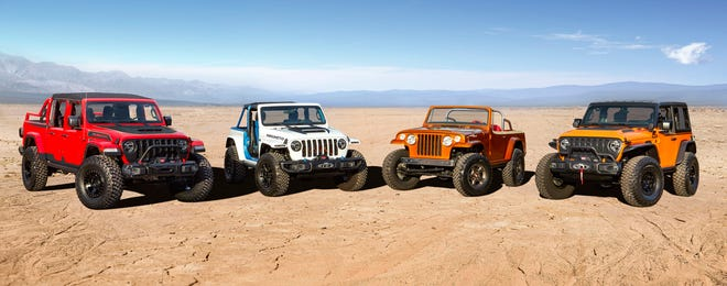 The Jeep® brand and Jeep Performance Parts team again join forces to create a lineup of custom-built concept vehicles to conquer the iconic trails in Moab, Utah,during the 2021 Easter Jeep Safari.Enthusiasts from all over the worldwill gather March 27 to April 4 in Moab forpicturesquetrail rides, technical off-roading and have a chance to experiencetheJeepbrand'slegendary 4x4 capability firsthand with four newconcept vehicles, including(left to right)Jeep Red Bare, Jeep Magneto, Jeepster Beach and Jeep Orange Peelz.