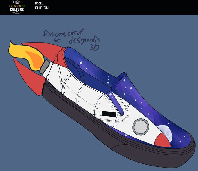 A design for a Vans skateboarding shoe that resembles a rocket racing through space has earned Henderson County High School visual communications classes the opportunity to compete for a $50,000 grand prize for its art program. The classes are tying that into a riverfront cleanup project this Friday and Saturday. (Image provided)