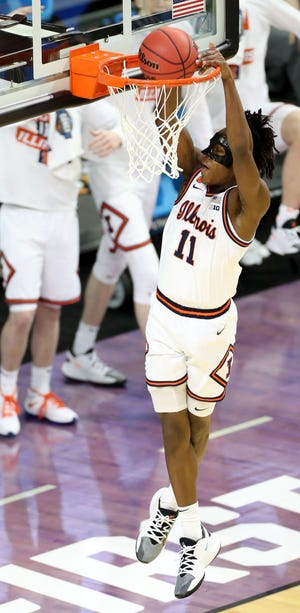 Illinois Fighting Illini guard Ayo Dosunmu (11) dunks during the first round of the 2021 NCAA Tournament on Tuesday, March 19, 2019, at Indiana Farmers Coliseum in Indianapolis, Ind.