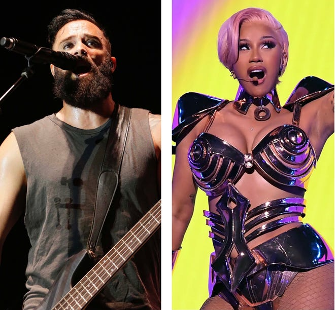 "John Cooper (left), frontman for Kenosha-based Christian rock band Skillet, suggested a Grammys performance of ""WAP"" Sunday by Cardi B (right) and Megan Thee Stallion was ""evil"" on his video podcast ""Cooper Stuff."" Cooper mentioned Adolf Hitler in his argument, then said in a video comment Thursday his comments about Hitler were misrepresented."