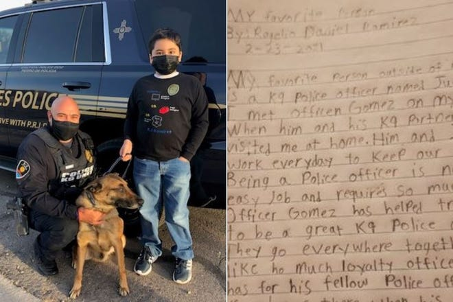 LCPD Ofc. Juan Gomez, his partner Joker and RJ Ramirez, and a handwritten copy of RJ's essay.