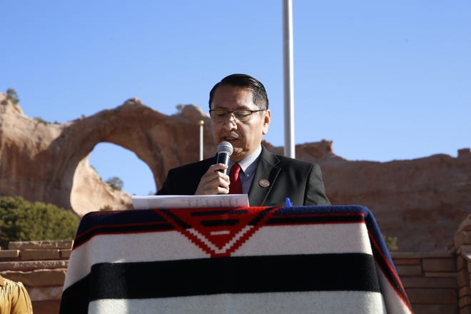 Navajo Nation President Jonathan Nez reads a letter sent to the tribe from President Joe Biden and first lady Jill Biden during the day of prayer event on March 19 in Window Rock, Arizona.
