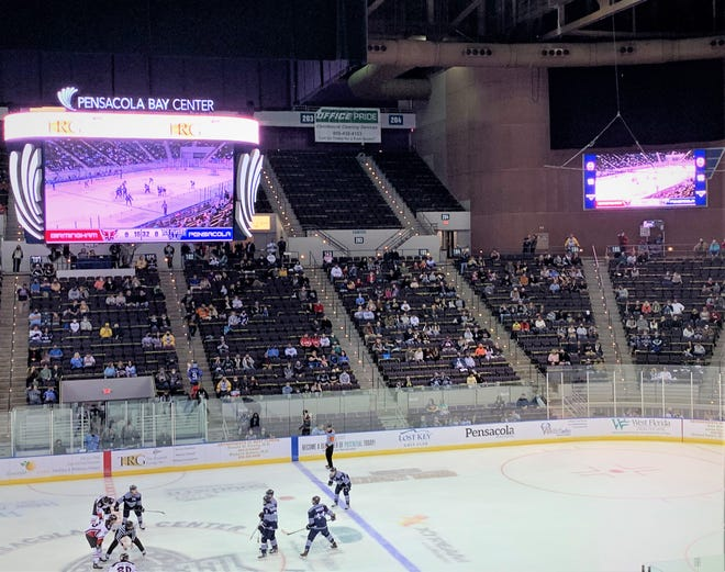 The Pensacola Ice Flyers compete during the 2020-21 season. The Pensacola Bay Center now features sizable video boards over center ice and in the arena's corners.