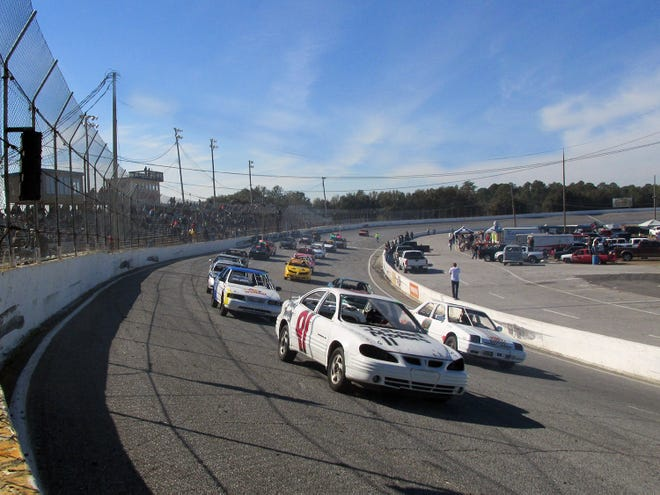 Cars race in an undated Sweat Hogg GP at Five Flags Speedway. The race returns on Saturday, March 20, 2021.