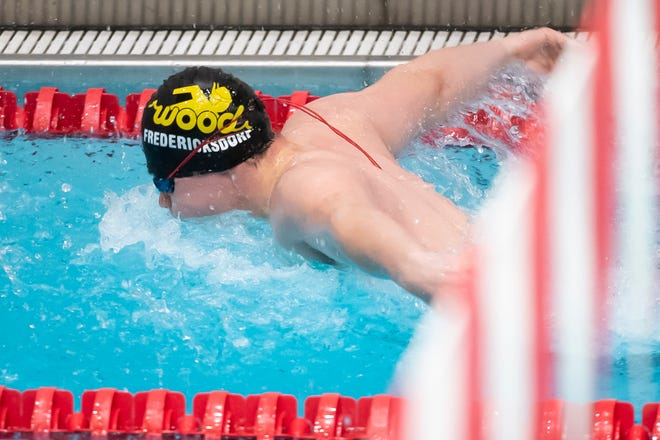 Archbishop Wood's Robert Fredricksforf competes in the 200 yard medley relay at the PIAA Class 2A Swimming Championships in Mechanicsburg, Pa., on Friday, March 19, 2021.