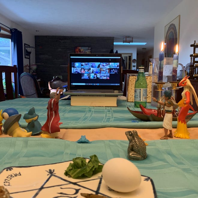 In 2020, the Fenster family's Seder included guests who joined via Zoom video conferencing service.