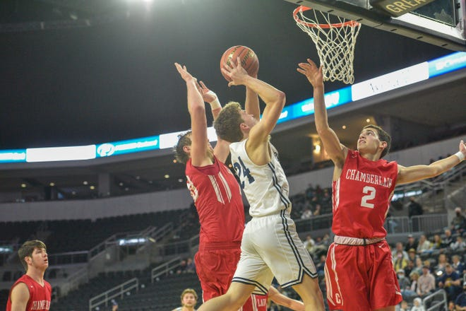 Oliver Vincent of Sioux Valley bringing the ball to the rim on Thursday night at the Class A state tournament in Sioux Falls.