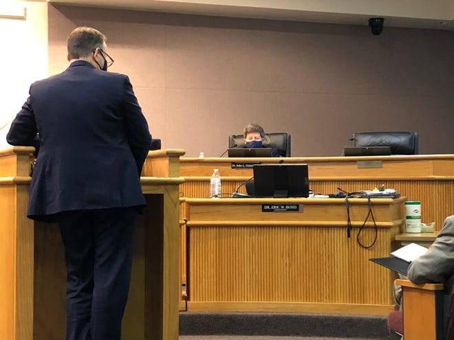 Superintendent Eric Bond addresses the Augusta County School Board during a meeting Thursday night, March 18.