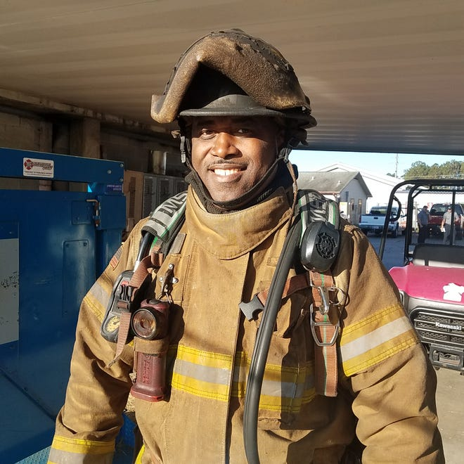 Staff Lieutenant Warren Bowers, Training Division, a veteran of 10 years with the Tallahassee Fire Department, gets ready for training session on March 10, 2021.