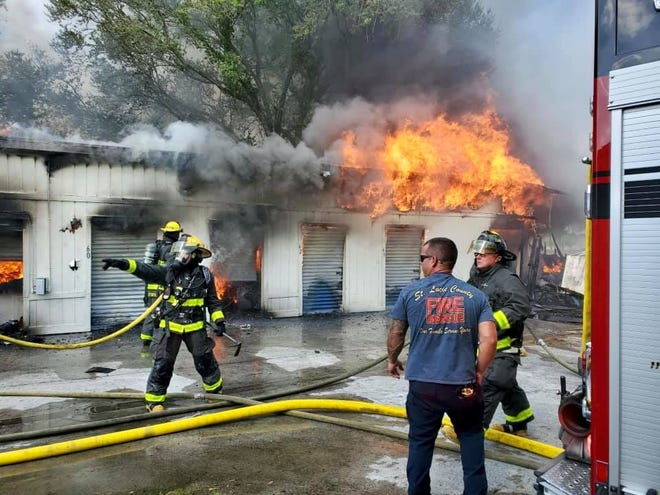 Firefighters worked for three hours Thursday evening to put out a fire in a storage unit building at Airport Storage on North Kings Highway, a St. Lucie County Fire District spokesperson said March 19, 2021.