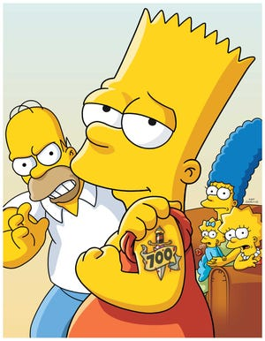 """Of course, Bart Simpsons got a tattoo to celebrate the 700th episode of Fox's """"The Simpsons."""""""