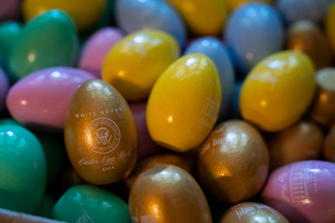 Wooden Easter eggs in a box at the White House waiting to be delivered to organizations in the area after the 2020 Easter Egg Roll was canceled due to the pandemic.