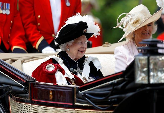 Queen Elizabeth II leaves after the Order of the Garter Service on June 17, 2019 at Windsor Castle.