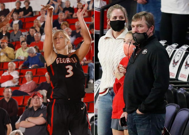Mary Beth Smart when she played for the UGA women's basketball team and this season with daughter Julia and husband and UGA football coach Kirby Smart at a game.