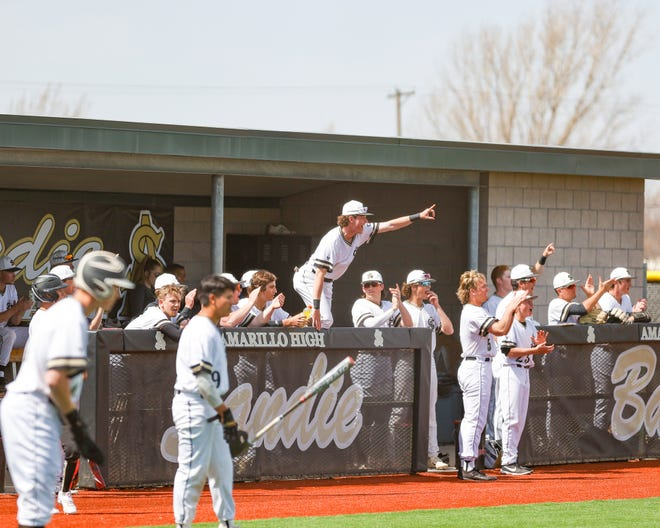 The Amarillo High bench celebrates during Saturday's game.