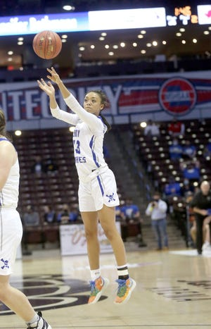 Boonville senior Jodie Bass puts up a shot from the outside in the first half Friday night against Benton in a Class 4 semifinal game at JQH Arena in Springfield.