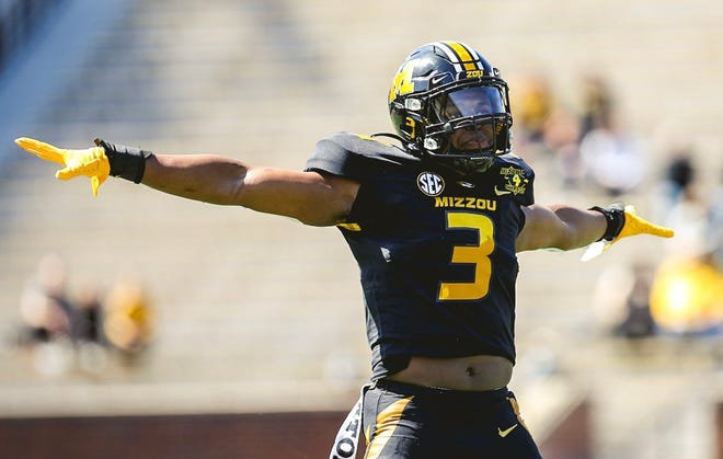 Missouri safety Martez Manuel reacts during the Tigers' spring game Saturday afternoon at Faurot Field.