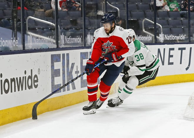 Oliver Bjorkstrand, here moving a puck in a game against Dallas last weekend, has displayed the kind of versatility to allows coach John Tortorella to move him throughout the lineup.