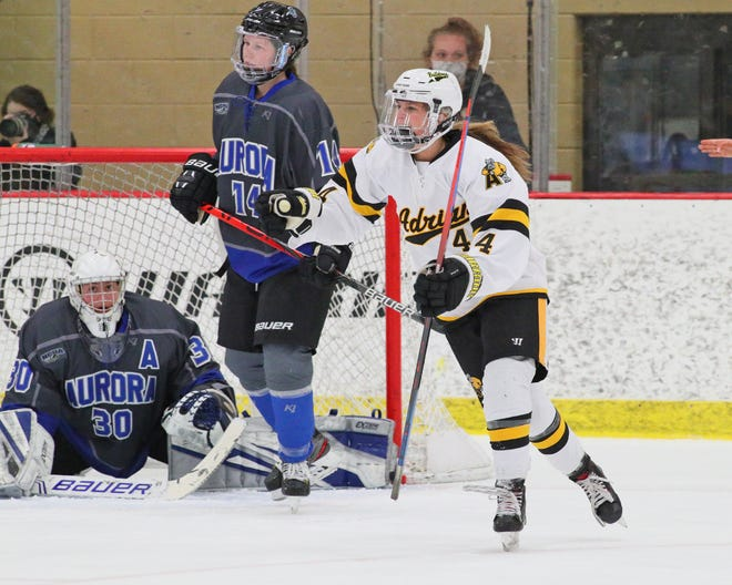 Adrian College's Karmen Anderson reacts to a goal during a Slaats Cup semifinal game against Aurora on Sunday, March 14.