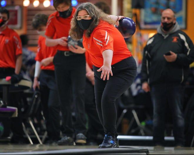 Tecumseh's Abby Werden rolls during a meet earlier in the 2021 season.