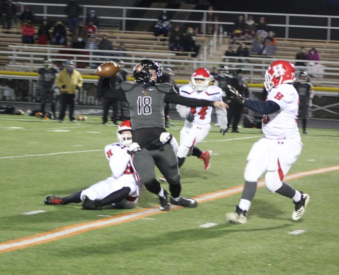 Hornell's Andrew Deebs gets a sack from a contest against Letchworth/Warsaw earlier this season. Hornell is looking to repeat that winning performance with a trip to Dansville on Wednesday evening.