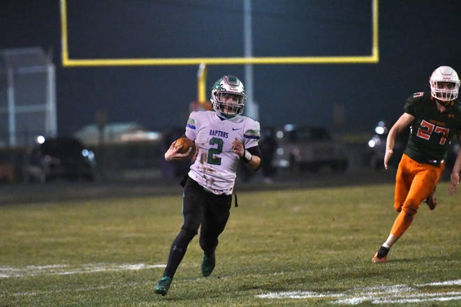 Mountain Island Charter's Dylan Bisson finds room to run in a game earlier this season at East Lincoln.