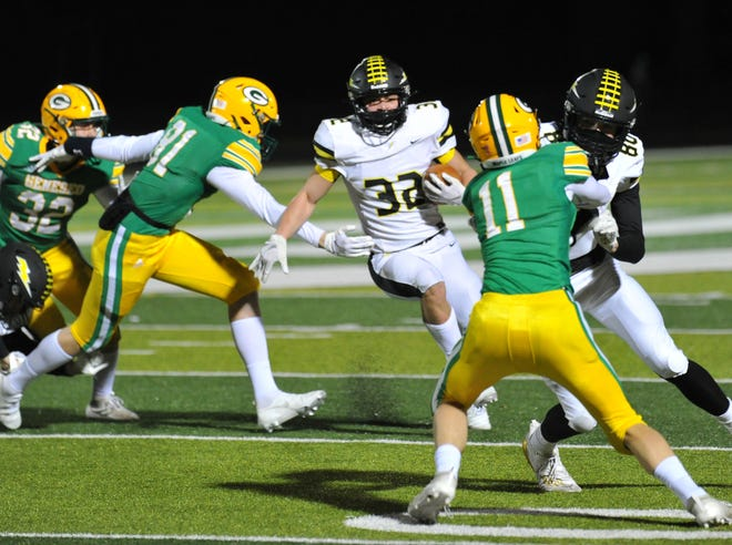Galesburg's Alex Egipciaco finds an opening in the Geneseo defense in the first half of Friday's Western Big 6 game, at Geneseo.