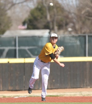 FHSU's Jacob Bouzide throws to first during a game this season. Bouzide was honorable mention All-MIAA.