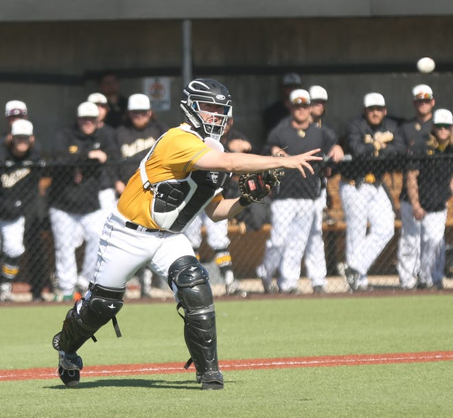 FHSU's Garrett Stephens throws to first base during a game earlier this season.