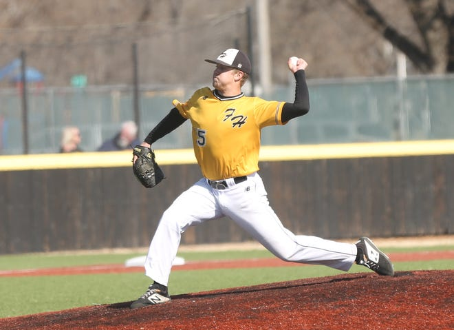 Fort Hays State's Jacob Ensz brings a pitch to the plate earlier this season against Rogers State.