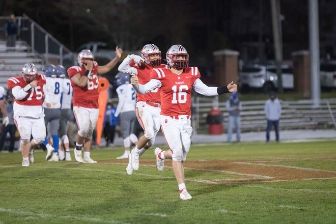 Hendersonville quarterback Gavin Gosnell (16) celebrates the Bearcats' victory over Smoky Mountain last week at Dietz Field. [PAT SHRADER/ BLUERIDGEEXPRESSIONS.COM]