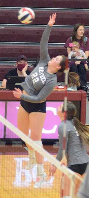 Bethel junior Dannika Day spikes the ball during a dual meet against York in KCAC play.