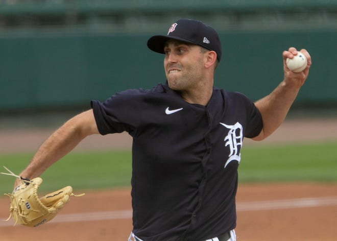 Detroit Tigers starting pitcher Matthew Boyd winds up during the first inning against the Pittsburgh Pirates.