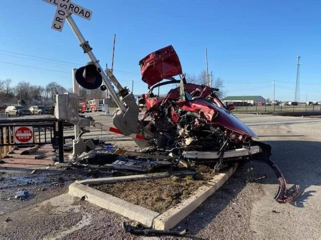 Margaret Hufnagel's vehicle after being hit by an Amtrak train Friday afternoon in Elkhart.
