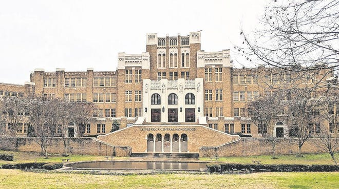 Little Rock Central High School was the site of forced desegregation in 1957 after the U.S. Supreme Court ruled that segregation of public schools was unconstitutional.