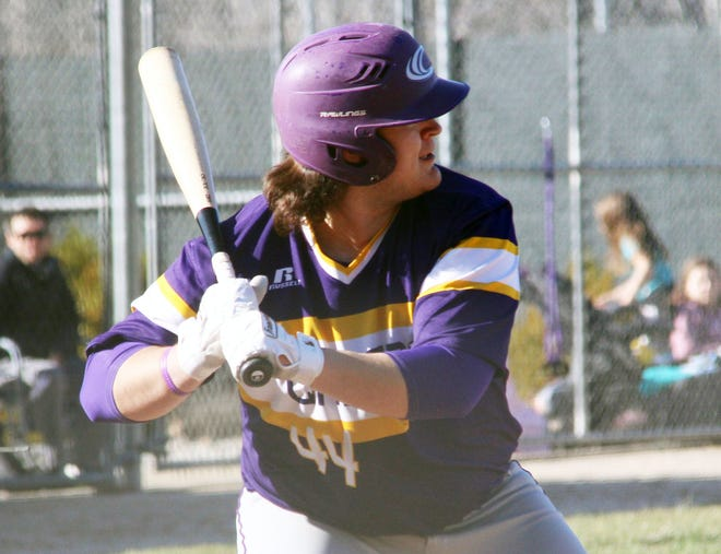 Camdenton senior Cesar Chaparro looks to connect on a pitch in the home and season opener against Eldon on March 19. Chaparro led the Lakers with four RBIs on the day.
