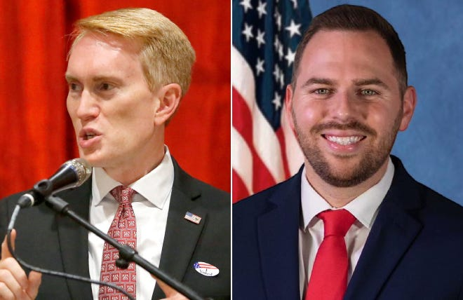 Left: Sen. James Lankford speaks during a Republican Party election night watch party in Edmond last November. Right: Tulsa pastor Jackson Lahmeyer.