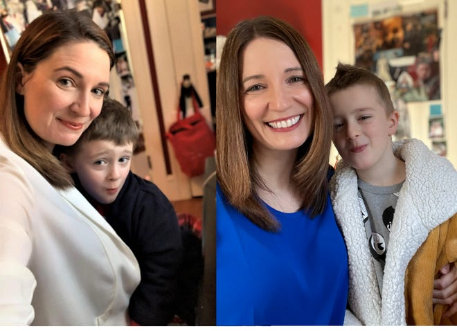 Author Vanessa Lillie and son in March 2020, at left, and today, which marks the final entry of her Coronavirus Diary