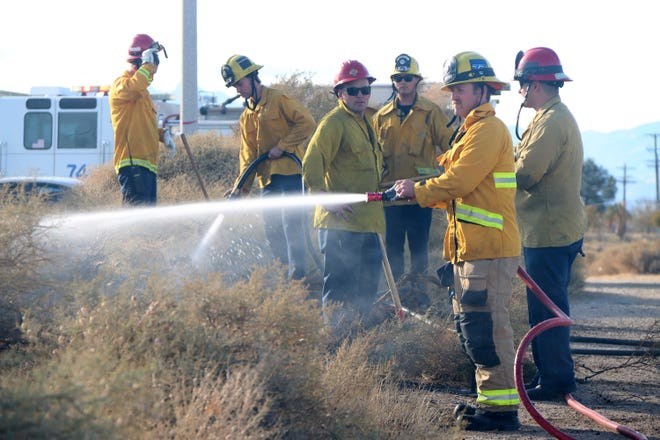 Despite some wind, a few hoses easily help firefighters take out a vegetation fire Friday.