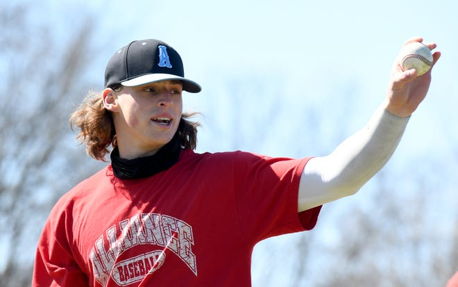 Alliance High School baseball standout Gavin Bruni, at the school Saturday, March 20, 2021.