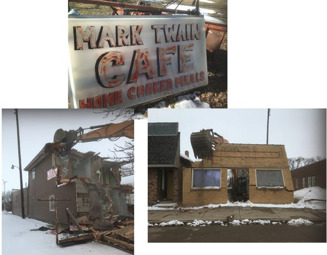 A familiar sight in Clements, the old Mark Twain Cafe building came down on March 16.